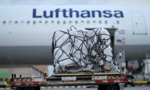 Aid packages for the victims of Haiyan await being loaded at Frankfurt airport.