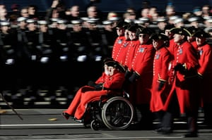 Remembrance Sunday: Chelsea pensioners make their way past the Cenotaph