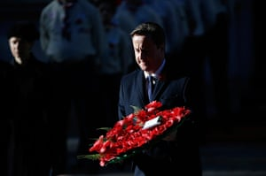 Remembrance Sunday: Prime Minister David Cameron lays a wreath on the Cenotaph