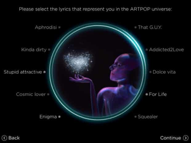 The ARTPOP app wants to know all about you.