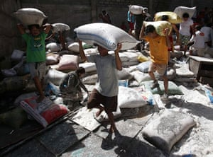 Tacloban survivors: Survivors bring bags of rice from a warehouse which they stormed due to foo