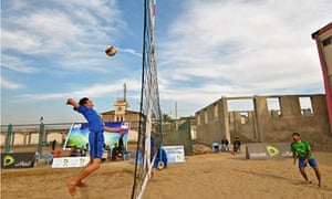 Afghan players compete in a five-day beach volleyball tournament in Kabul