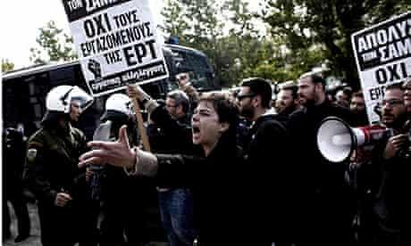 ERT tv station protest athens greece