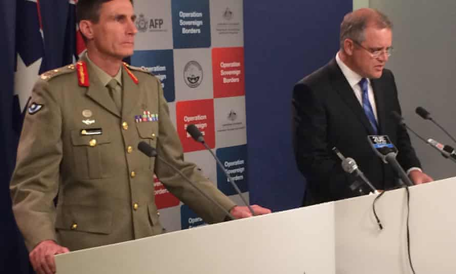 Immigration minister Scott Morrison (right) and Major General Angus Campbell during a press conference in Canberra on Friday.