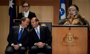 Tony Abbott and Bill Shorten attend the Welcome to Country ceremony at Parliament House in Canberra.