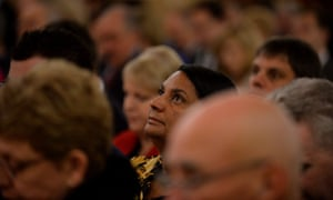 Senator-elect Nova Peris attends the ecumenical service at St. Christopher's Cathedral in Canberra.