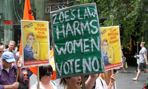 Pro-choice abortion marching against Zoe's Law in Sydney.