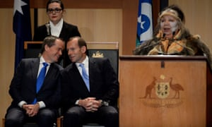 Bill Shorten and Tony Abbott at a welcome to country ceremony in parliament.