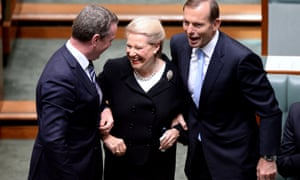 Former speakers lost their heads, you know. Brownie Bishop is dragged to the speakers chair by Abbott (left) and the Leader of the House Christopher Pyne.