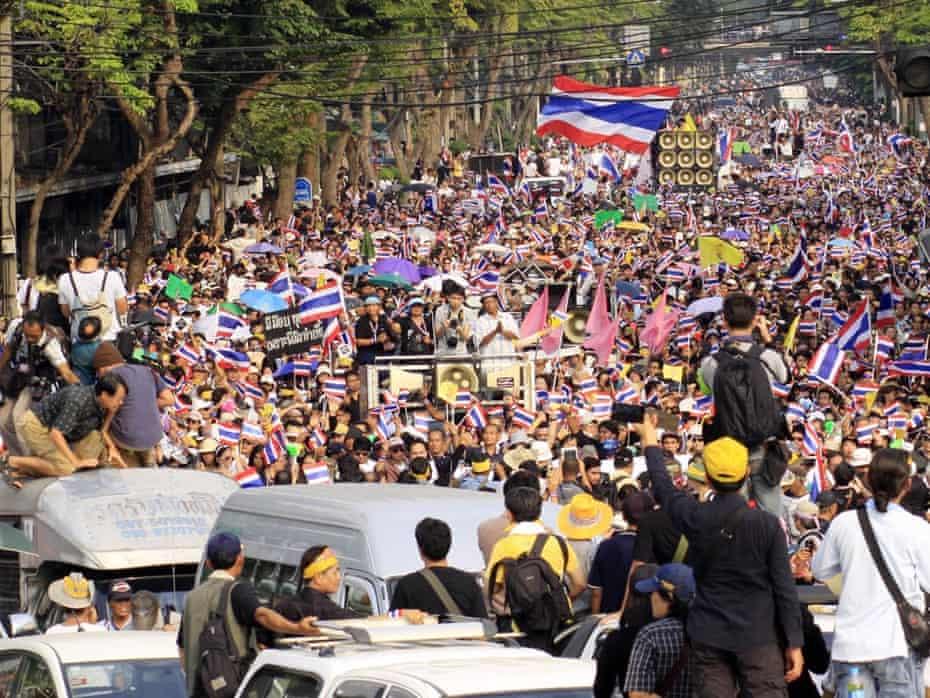 Protests against the legislation in Bangkok on Monday.