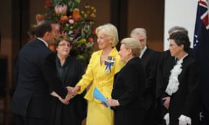 Tony Abbott greets the Governor-General, Quentin Bryce and the new Speaker Bronwyn Bishop at Parliament House ahead of the GG's speech.