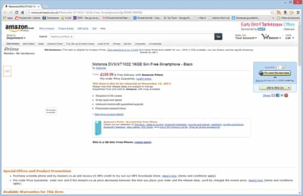 Amazon UK listing detailing the Moto G smartphone release date, price and specifications, which was quickly pulled.