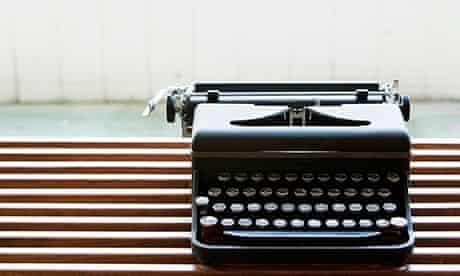 Typewriter on bench