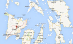 Iloilo City, in the western Visayas islands, lies about 450 kilometers west of Tacloban city.