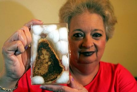 Diane Duyser holds a 10-year-old grilled cheese sandwich
