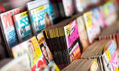 Women's magazines on rack
