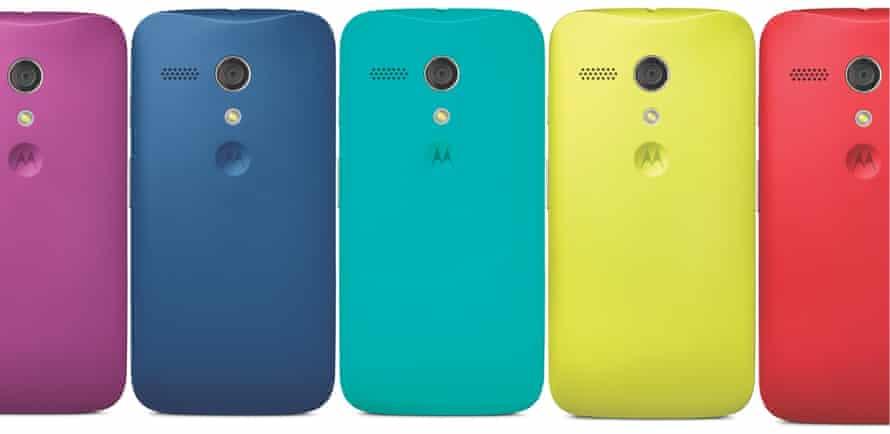 Motorola Moto G smartphone in various colours
