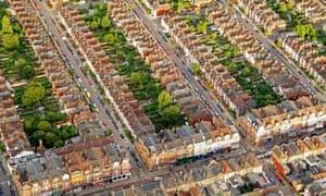 Aerial view of London neighbourhood