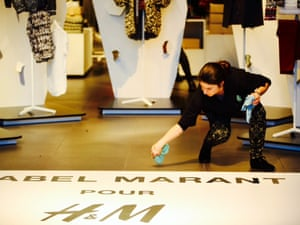 Preparations ahead of the Isabel Marant collection going on sale at H&M regent st