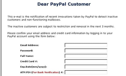Fake emails that try to convince you they are from Paypal