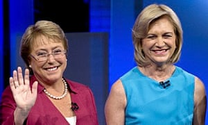 Michelle Bachelet and Evelyn Matthei