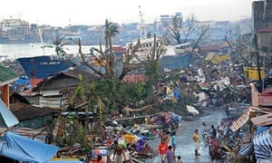 A shipt swept ashore in Leyte province