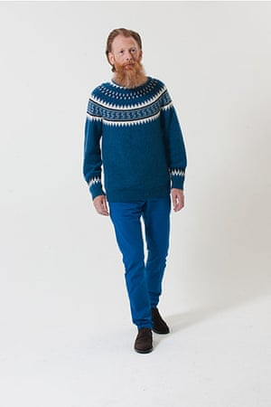 All Ages: blue jumper for men white pattern around neck