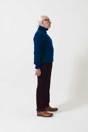 All Ages: blue polo necked jumper knitted long sleeves