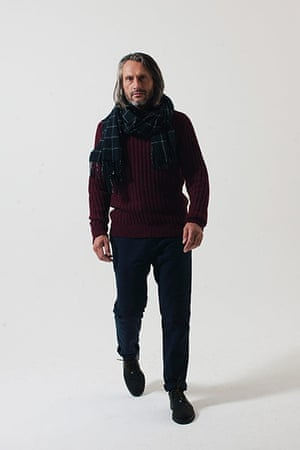 All Ages: burgundy knitted ribbed sweater long sleeves scarf