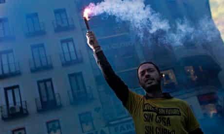 Demonstrator in Madrid