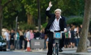 Boris Johnson on a bicycle