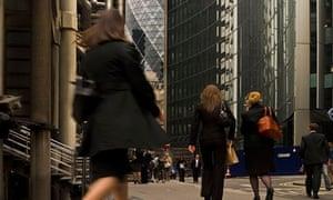 Women walking through the City of London