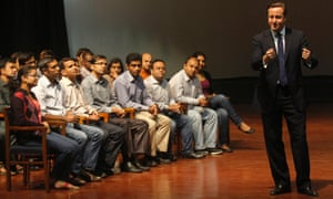 David Cameron was challenged on the scope of surveillance during a Q&A session with students of the Indian Institute of Management Calcutta.