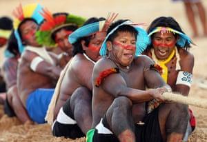 Indigenous Games: Members of the Brazilian indigenous ethnic group Kayapo Metykitre