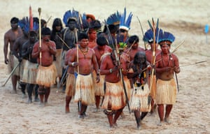 Indigenous Games: Members of Brazilian indigenous ethnic group Mamainde