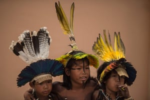 Indigenous Games: Boys wearing colourful headdresses