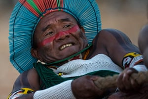 Indigenous Games: A Kayapo Indian takes part in the tug of war competition