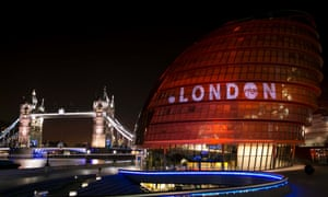 City Hall in London, lit up to celebrate the new domain name.