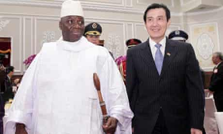 Gambian president Yahya Jammeh with Taiwanese counterpart Ma Ying-jeou in 2012