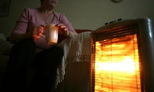 Woman with gas heater