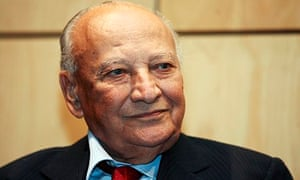 Former Cypriot President Glafcos Clerides smiles in Nicosia