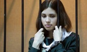 Nadezhda Tolokonnikova in court in April this year
