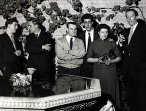 Doris Lessing obit: 1957: (l-r) Bill Hopkins, John Wain, Lindsay Anderson Tom Maschler, Doris L