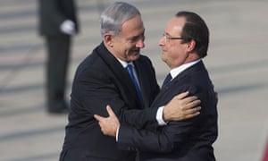 Israeli prime minister Benjamin Netanyahu welcomes French president Francois Hollande to Tel Aviv