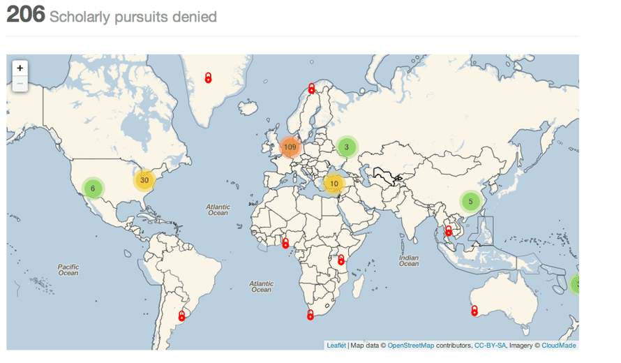 Map of worldwide encounters with paywalls