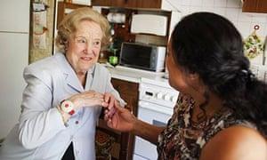 Older woman talking