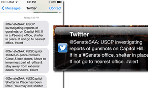 An example of a US twitter alert, sent by the Sergeant-at-Arms of the US Senate.