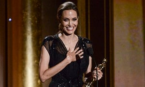 Actress and honoree Angelina Jolie accepts her award at the Governors Awards