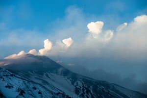 Mount Etna produces a series of rare steam rings  technically known as 'vortex rings' in Sicily, Italy.