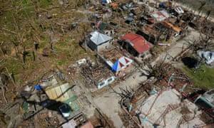 An aerial photo shows the devastation in the aftermath of typhoon Haiyan in Homonhon island, eastern Samar.
